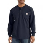 K128 Workwear Pocket Long-Sleeve Henley-In Store prices May Be Lower Please Call